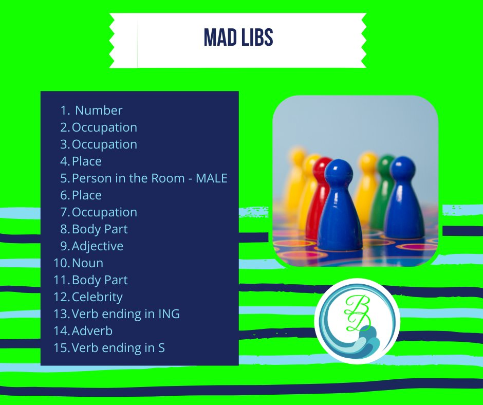 It's #SundayFunday  Today, we're playing #MadLibs ! Leave your answers below and I will post the story later today!  Have fun!!  #BlissfulDreams #Boardgames #GameTime #LetsPlay #scentsy https://t.co/EVyPYpo5XT
