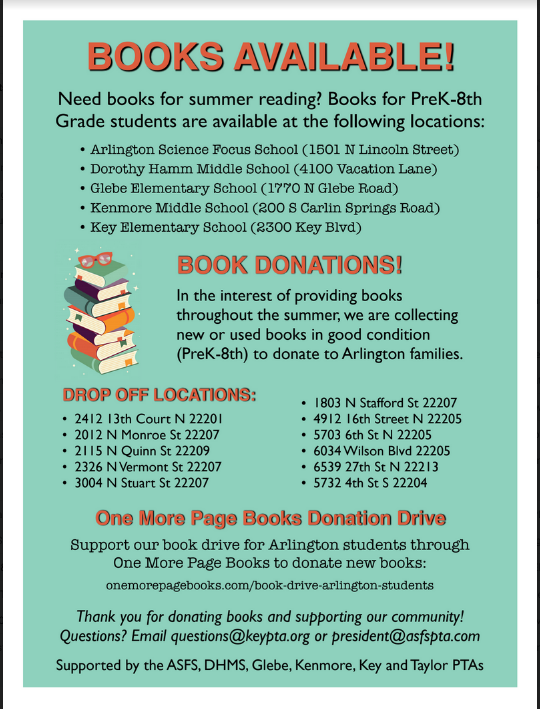 Don't forget our Book Drive to benefit <a target='_blank' href='http://twitter.com/APSVirginia'>@APSVirginia</a> schools! Donate at one of the locations listed on the flyer! Or - buy new books <a target='_blank' href='http://twitter.com/justonemorepage'>@justonemorepage</a>: <a target='_blank' href='https://t.co/BelebXKbnv'>https://t.co/BelebXKbnv</a> <a target='_blank' href='http://twitter.com/AsfsPta'>@AsfsPta</a> <a target='_blank' href='http://twitter.com/KeyPta'>@KeyPta</a> <a target='_blank' href='http://twitter.com/glebepta'>@glebepta</a> <a target='_blank' href='http://twitter.com/TaylorPTAtalk'>@TaylorPTAtalk</a> <a target='_blank' href='http://twitter.com/KenmorePTA'>@KenmorePTA</a> <a target='_blank' href='http://twitter.com/AbingdonPTA'>@AbingdonPTA</a> <a target='_blank' href='http://twitter.com/RandolphPta'>@RandolphPta</a> <a target='_blank' href='https://t.co/wEGk4gwBB3'>https://t.co/wEGk4gwBB3</a>