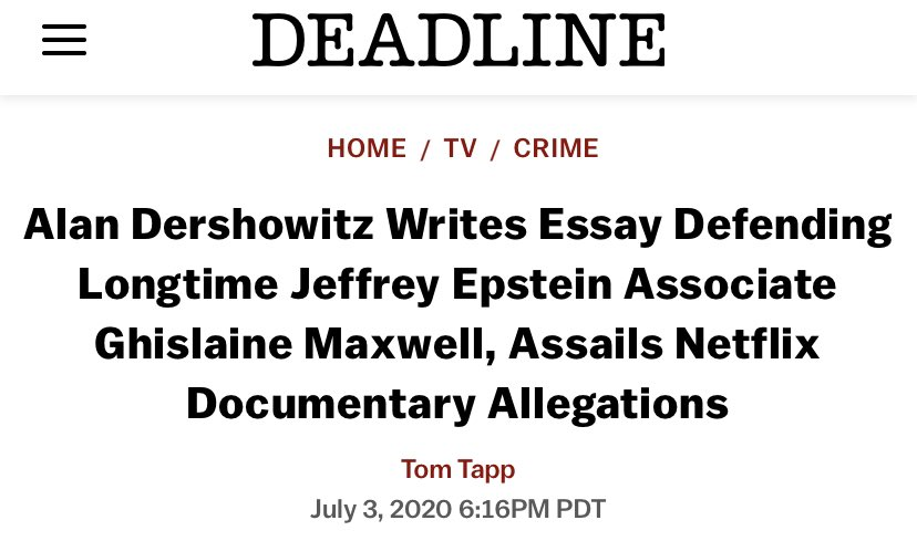 @AlanDersh You represented Epstein, Alan Dershowitz. You would know if there were tapes. If you were on a tape w/a minor, I'm sure Epstein would have disposed of that tape at your request since you fought so diligently on a predator's behalf. Now your making excuses for Ghislaine Maxwell.