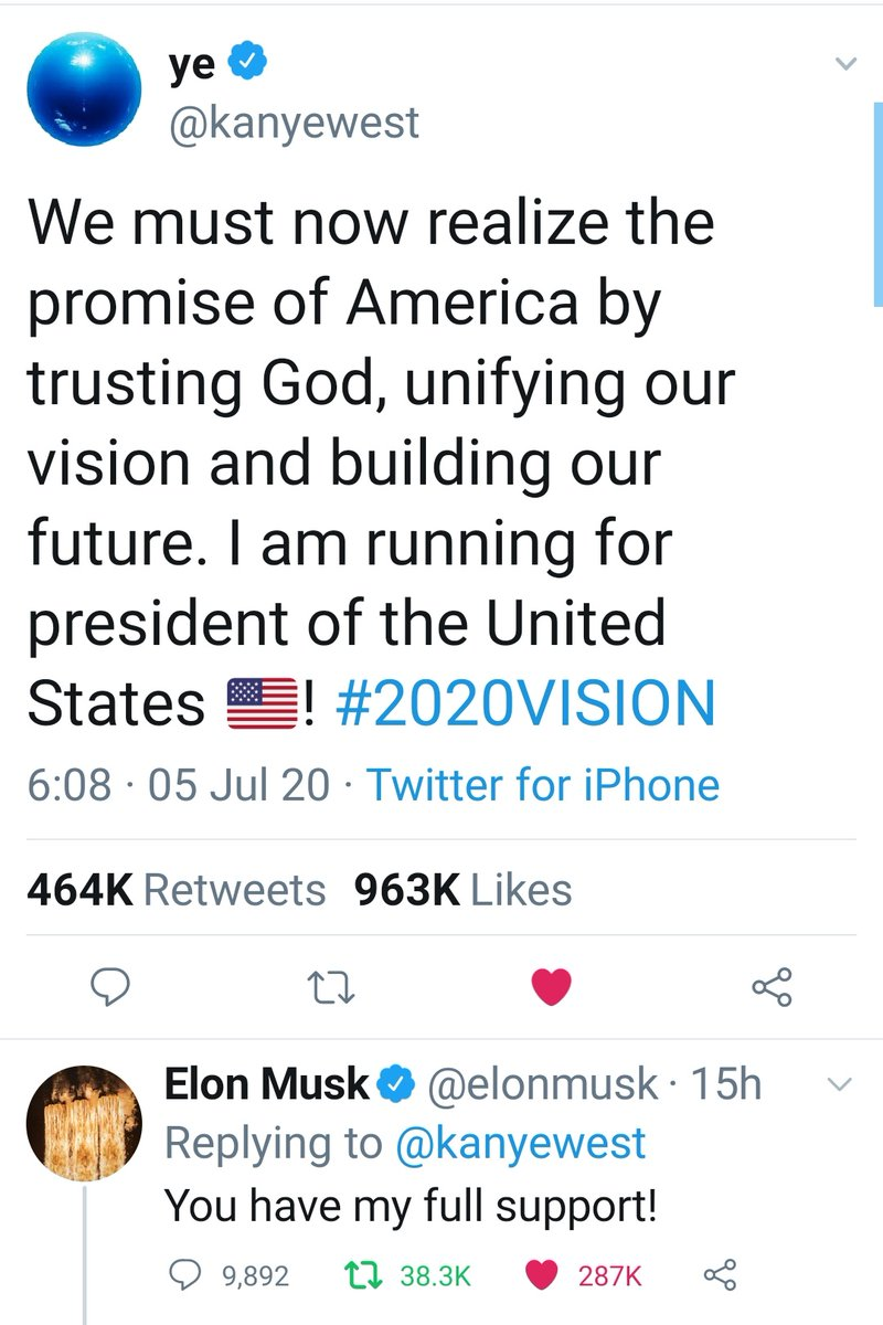 Can't get more entertaining than this. @kanyewest has announced he will be running for President of USA.. and he has @elonmusk's full support. Season 2 of the 2016 USA elections begins :-) https://t.co/2XTxqrNwqc
