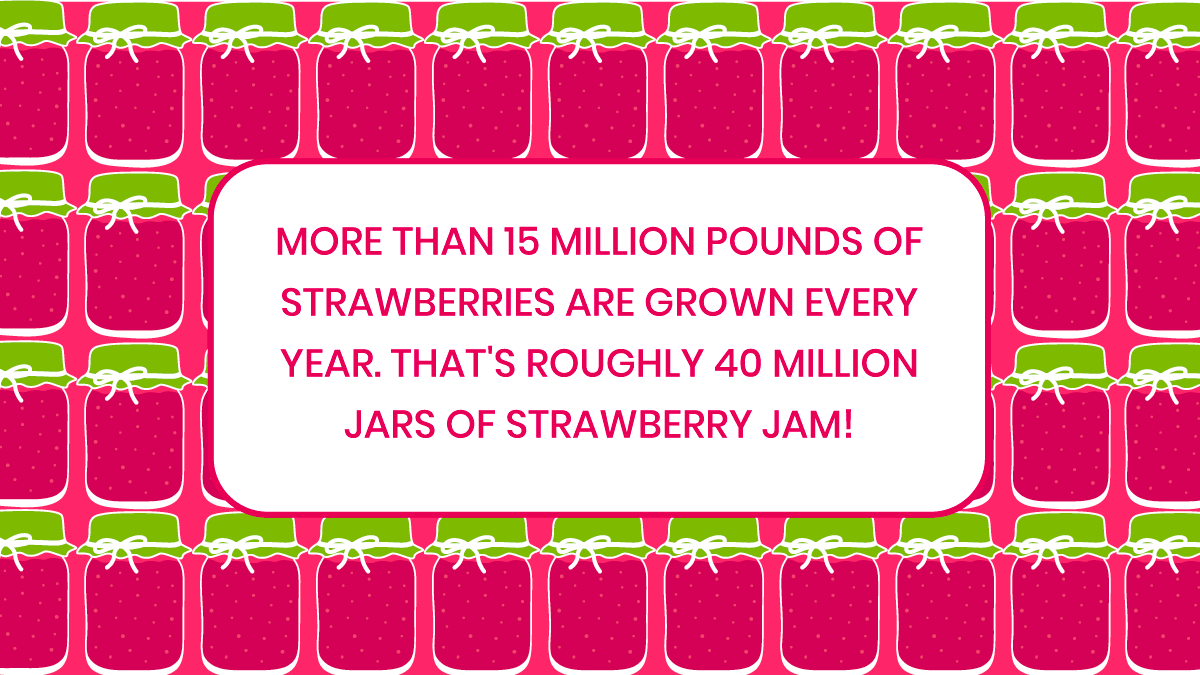 That's a whole lot of jam produced every year! Who else loves strawberry jam?  #Strawberry #Jam #StrawberryFact #Delicious #Yummy #GreenhouseGrown #YESBerries #DelFrescoPure #Fresh #Grown https://t.co/hYicHhL7SG