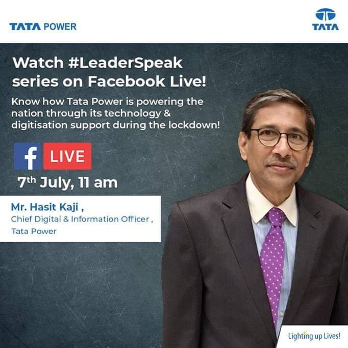 Watch Mr. Hasit Kaji, Chief Digital and information officer, Tata Power as he participates in the #LeaderSpeak series on Facebook Live and will be sharing details on  how Tata Power is powering the nation through its technology & digitisation support during the #lockdown. https://t.co/7ZKJNum6cg