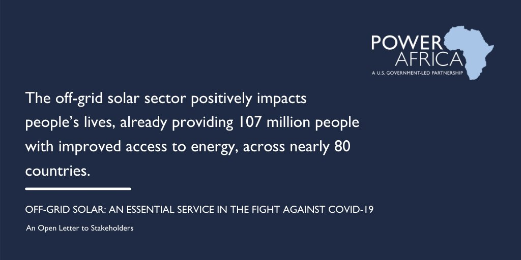 The #offgrid #solar sector has a vital role to play in #COVID19 response, but it needs #funding.   Read our joint #openletter as we seek to partner with governments to electrify #healthfacilities and provide relief funding to the sector http://ow.ly/YB3T50Aitw5pic.twitter.com/viPlvfrpY2
