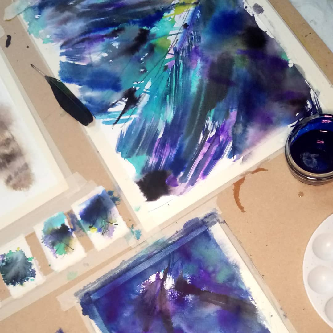 #wip #wipart  Indigo, iridescence - a lifetime fascination.   Join me http://natashagiles.com/signup   #abstractart #abstractartwork #painting #expression #colours #natureinspired #experimental #NatureHeals #ArtHealspic.twitter.com/wS3ilH6KIS