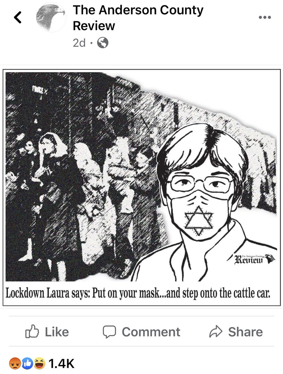 @gdanehicks saw fit to publish his own odious cartoon likeningKansas #democrat @GovLauraKelly's #mask order to the #Holocaust. He's the @SenateGOP chair. Just when you think people can sink no lower? For shame. Utterly disgusting. #WinterisComing #Vote #Antisemitism #GOPCowards https://t.co/ndXYcLy1d6