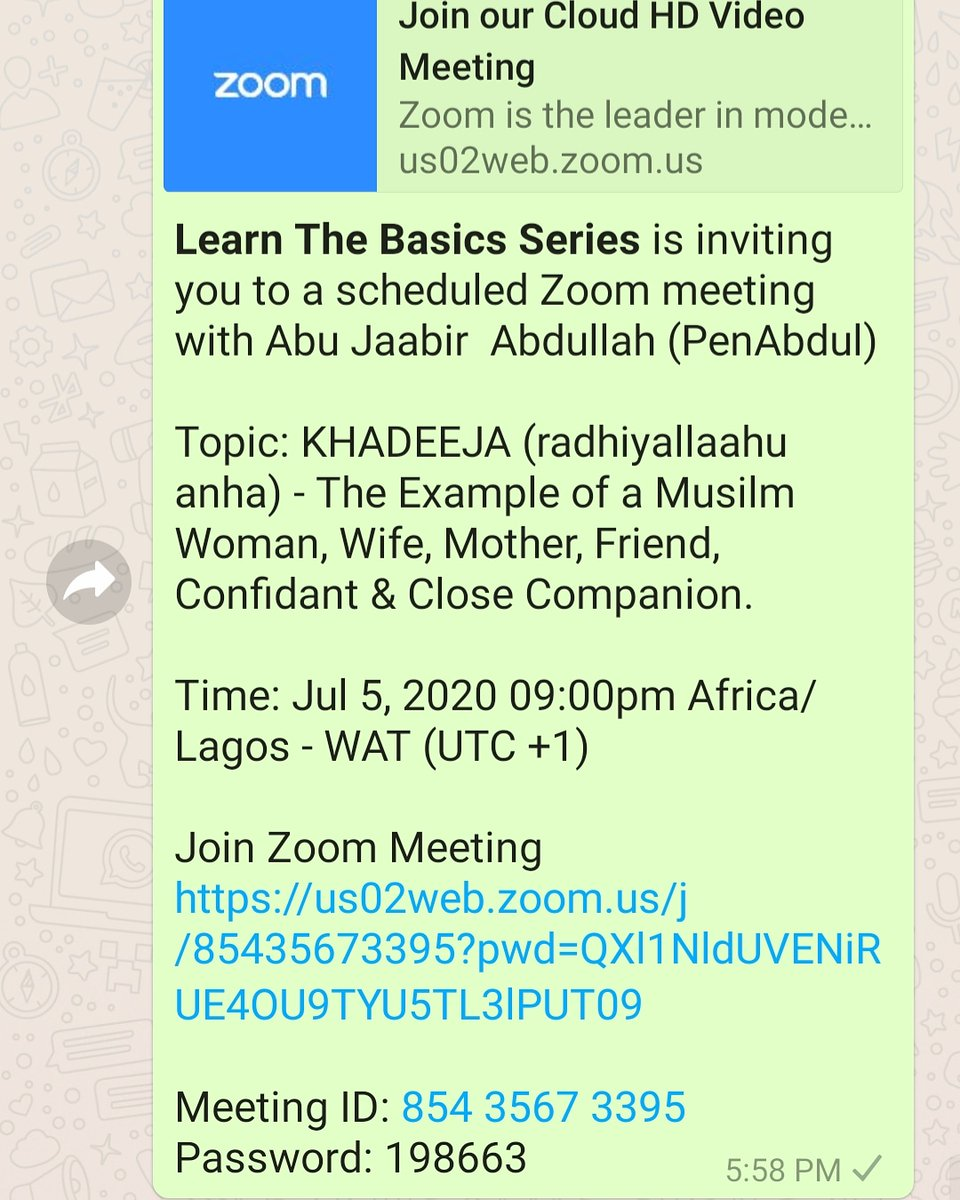 Topic: KHADEEJA (radhiyallaahu anha) - The Example of a Musilm Woman, Wife, Mother, Friend, Confidant & Close Companion.   Time: Jul 5, 2020 09:00pm Africa/Lagos - WAT (UTC +1)  Join Zoom Meeting https://t.co/R0M255sH74  Meeting ID: 854 3567 3395 Password: 198663 https://t.co/lYzUeJAK5j