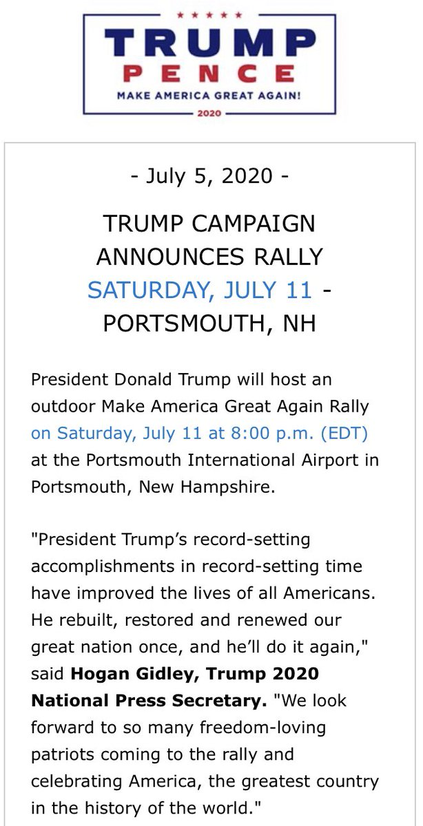 .@TeamTrump is coming to New Hampshire! Get ready for a Make America Great Again rally in Portsmouth, NH on July 11 GET YOUR FREE TICKETS —> donaldjtrump.com/events