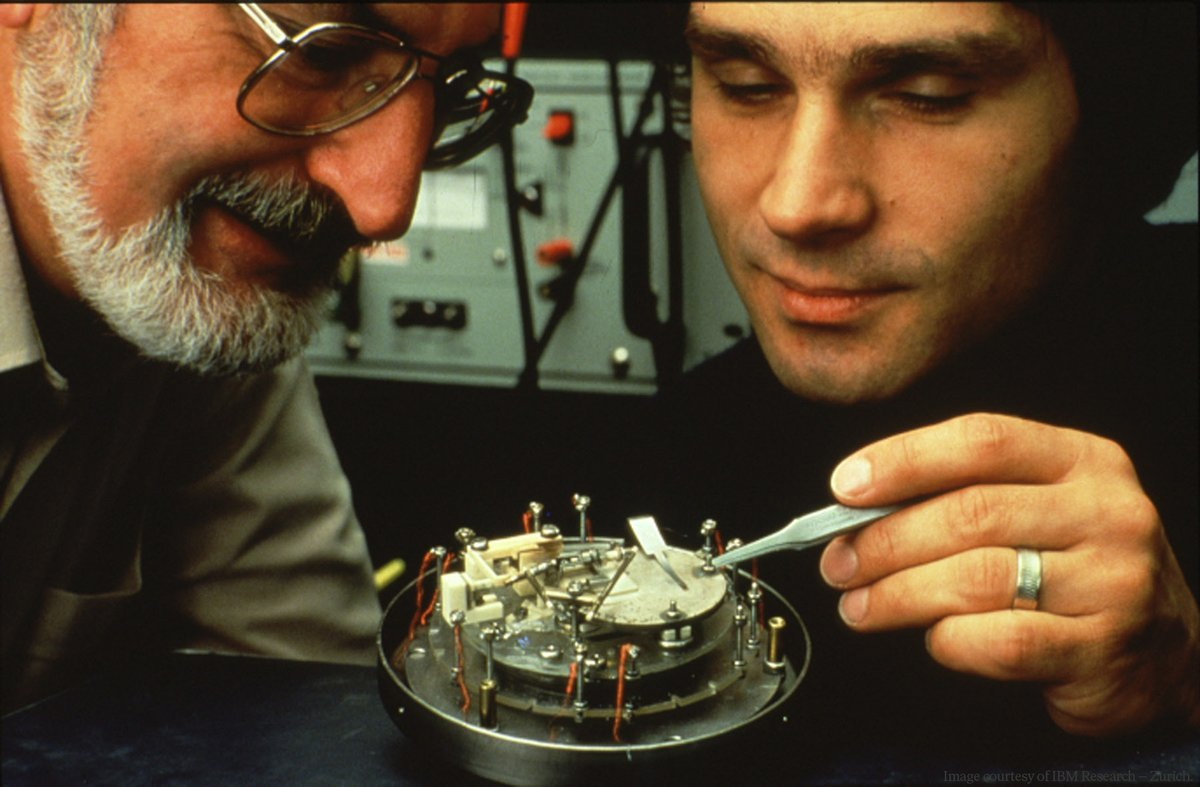 In 1981 Gerd Binnig and Heinrich Rohrer developed the scanning tunneling microscope. Five years later they were awarded the Physics Prize. Learn more by reading their paper Surface Studies by Scanning Tunneling Microscopy, published on this day in 1982: journals.aps.org/prl/pdf/10.110…