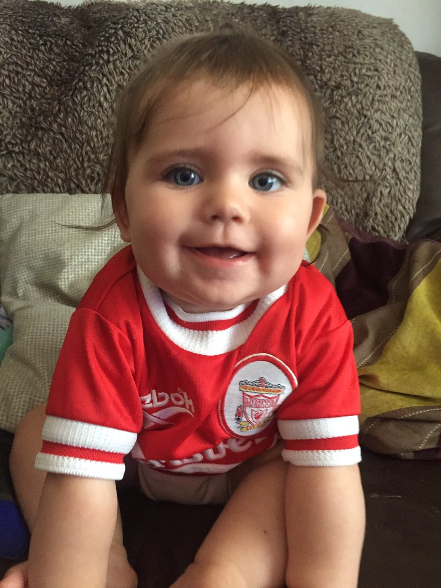 Somebody's happy watching Liverpool get their first premier league win whilst be crowned champions of England. #BOOM @LFC  @curtisjr_10 @BlazeGerrard #LFCBABY https://t.co/NETh6ktVal