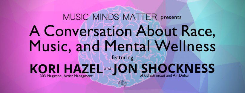 Join us for a conversation on race, music, and mental wellness. Today on Facebook at 3:30pm MT: https://t.co/lruabJuyur  #MusicMindsMatter #MentalHealthMatters #BlackMentalHealth #BlackLivesMatter #KindnessMatters https://t.co/85Xc8ZWfTN