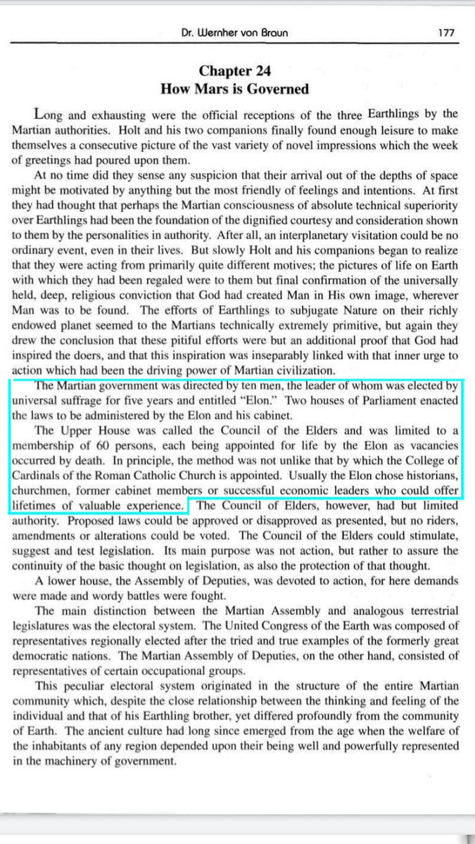 """In Von Braun's book 'MARS PROJECT' the #Mars leader was titled """"ELON""""!   """"The Martian govt was directed by 10 Men, the leader of whom was elected . . . for 5 years and entitled 'Elon.' Two houses of Parliament enacted the laws to be administered by the Elon and his cabinet""""<br>http://pic.twitter.com/yOLg8QkemR"""