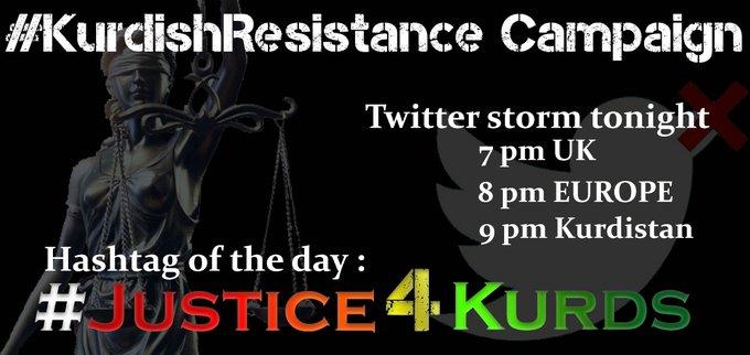 Bereiten Sie sich mit dem Hashtag unten auf den heutigen Sturm der Solidarität mit den Kurden vor.    21 Uhr Kurdistan   20 Uhr Europa   19 Uhr London   14 Uhr New York  #Justice4Kurdspic.twitter.com/dECYT8iV0C  by Anonymous in Twat jail for 2 days