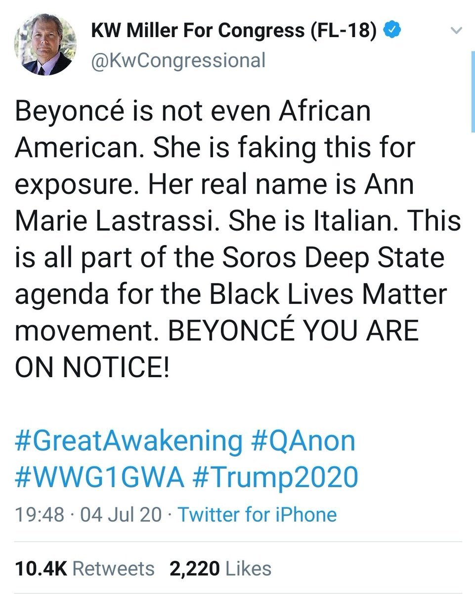 1/ By now many of you have seen the tweet with the lunatic theory advanced by a Q Anon adherent and Florida congressional candidate that Beyonce is not, in fact, black. Let's talk about Q Anon for a moment, and who is making money from it. https://t.co/a8arX01dU4