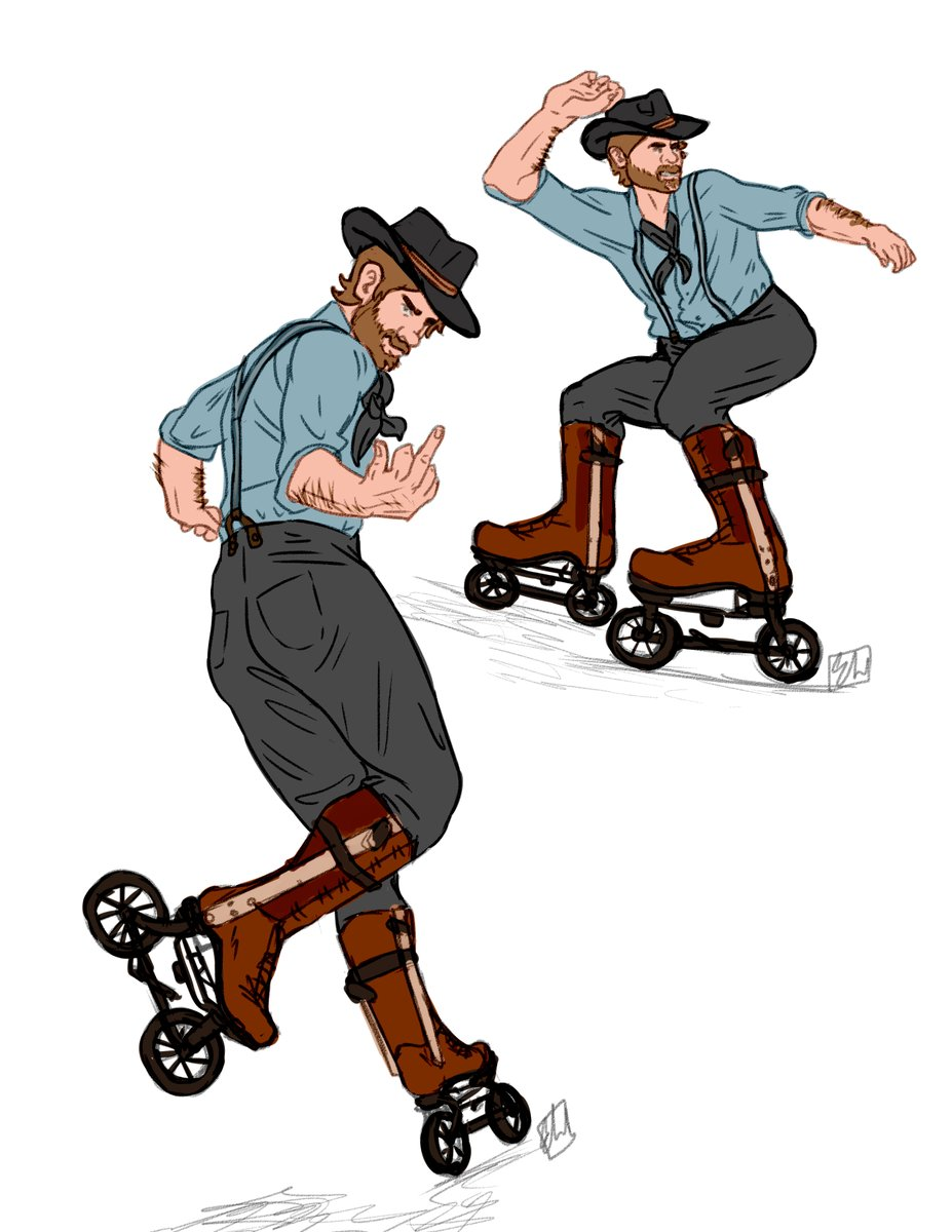 inspired by @wastelandwolff  here's some Arthur in Ritter Road Skates (1898).   #RedDeadRedemption2 #ArthurMorgan pic.twitter.com/MSkRZz5Vxf