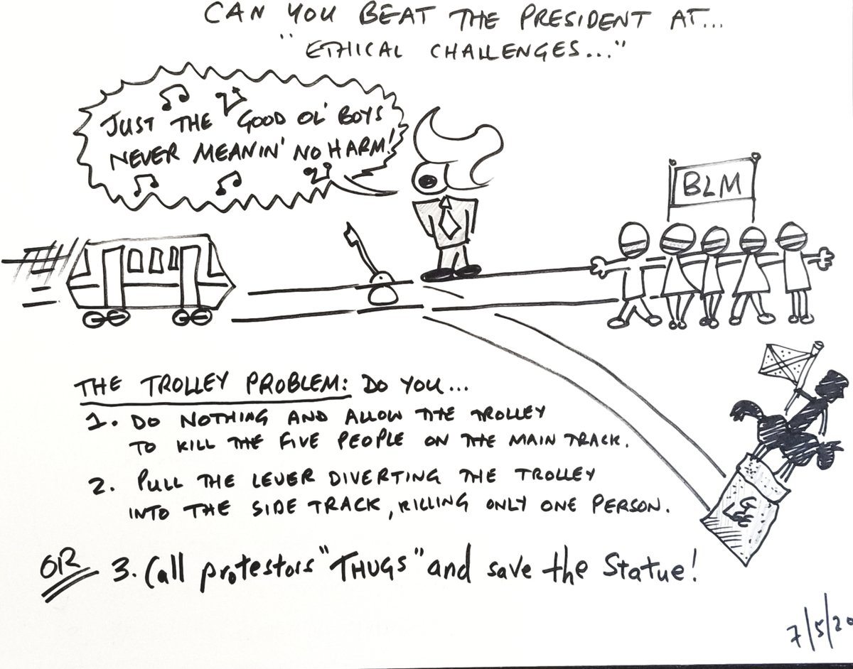 """Can You Beat The President At ... """"Ethical Challenges""""  Call protesters thugs and save the statue!  #dukesofhazard #trolleyproblem #ethics #CartoonsByAndy #TrumpCartoons #CanYouBeatThePresidentAt #PoliticalSatire #PoliticalHumor pic.twitter.com/iizsWPhS4e"""
