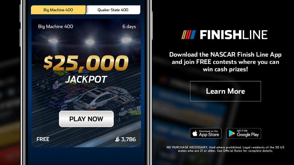 The NASCAR Finish Line app is your chance at winning a $25,000 jackpot!   Download now: https://t.co/bdqoE2tDKq https://t.co/uhZprUKDEI