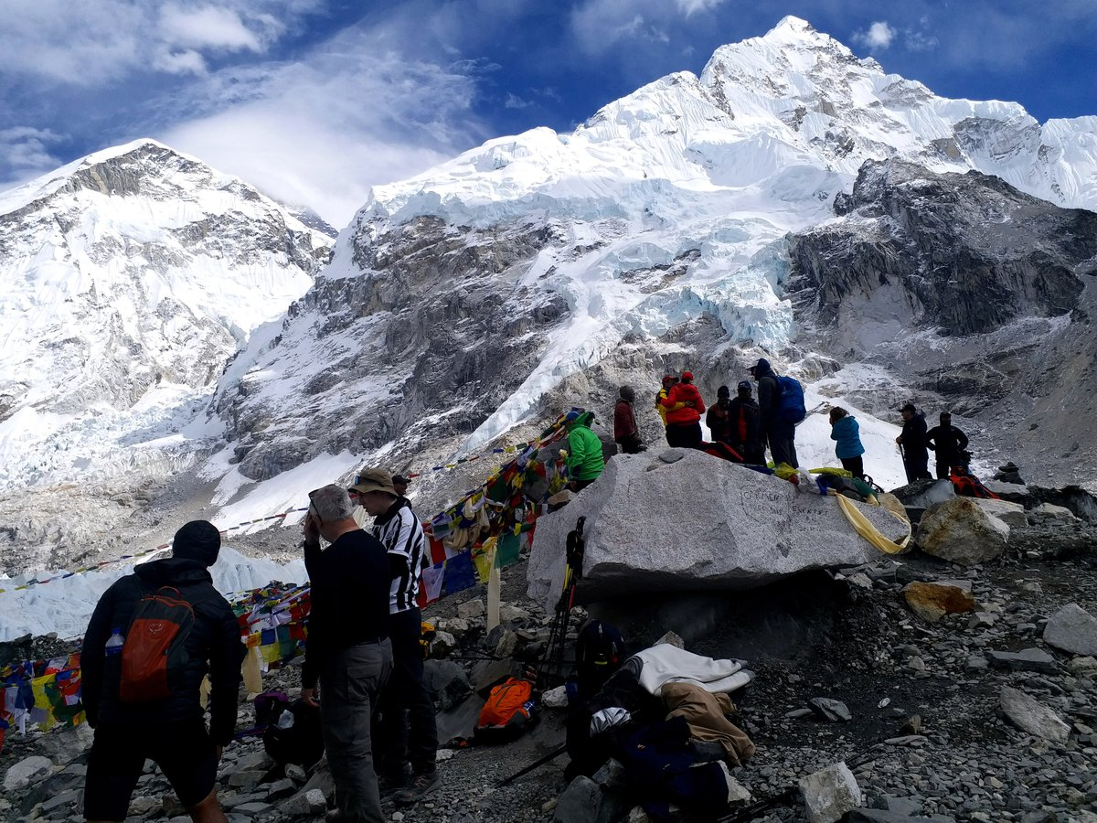 Trekkers at Everest Base Camp looking at those magical view of Himalayas up close.   Plan your trip with us at https://t.co/kLFMqVm44U #travel #adventure #Himalayas #everest #walking #naturephotography #mountains #fitness #health https://t.co/qJzDXDtVXq