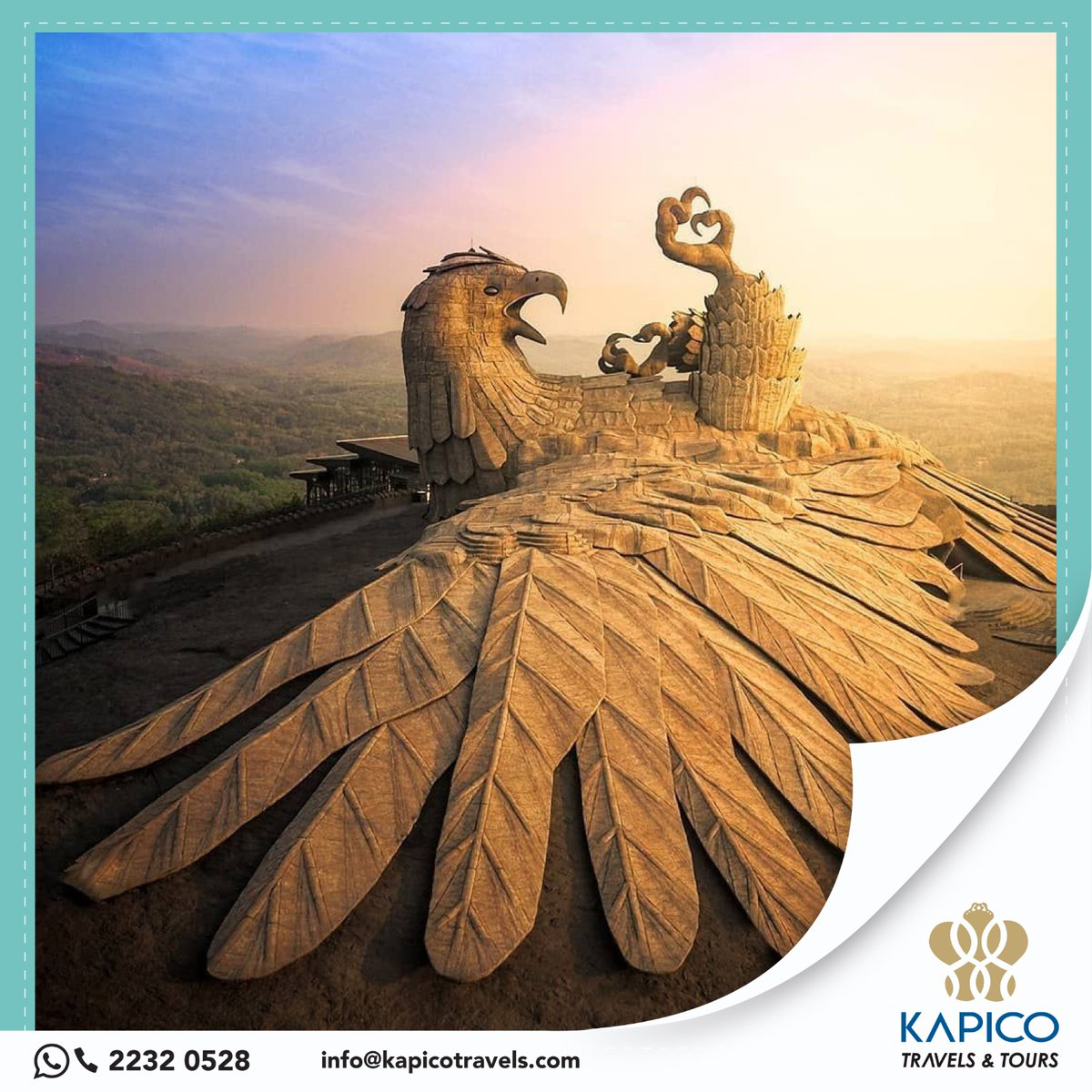 Jatayu Earth's Center, also known as Jatayu Nature Park or Jatayu Rock,is a park and tourism center at Kollam district of #Kerala, India. Jatayu Nature Park is holding the distinction of having the world's largest bird sculpture.  #kapico #kapicotravels #golater #travels #tourism https://t.co/3E2GRzPGP8