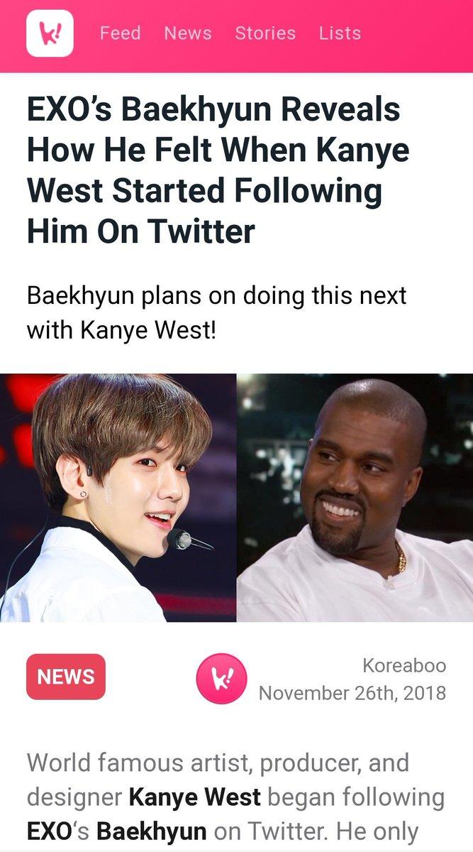 #백현#BAEKHYUN#Delight @B_hundred_Hyun @weareoneEXO #Baekhyun_Candy  Apparently it was Kanye who followed Baekhyun first.. Baekhyun followed him back next day.🙂 https://t.co/TAItxDu9WQ https://t.co/ioMRlAVrUU