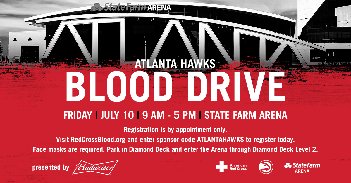 This is the time to take care of one another. If you're healthy & feeling well, stay #TrueToAtlanta and join us, @RedCrossBloodGA, @budweiserusa  & @11Alive at our summer blood drive at @StateFarmArena on July 10 from 9 am - 5 pm.   Make your appointment: https://t.co/lsTuyIfQ3c https://t.co/6HvbwuoqAs