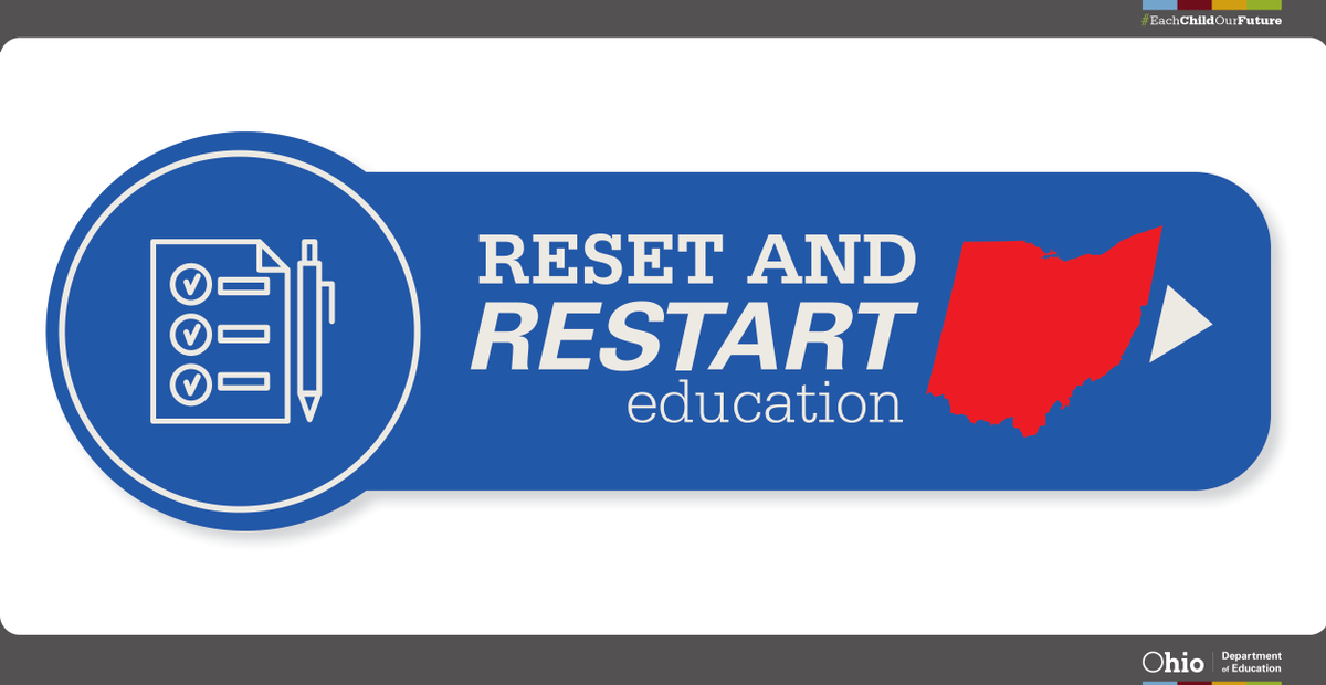Working together to ensure Ohio's students, staff and communities have a healthy and safe new school year!  Visit  http:// education.ohio.gov/Reset     to read the Reset and Restart Education Planning Guide.  #EachChildOurFuture #OhioEd <br>http://pic.twitter.com/RG4vZop8w4