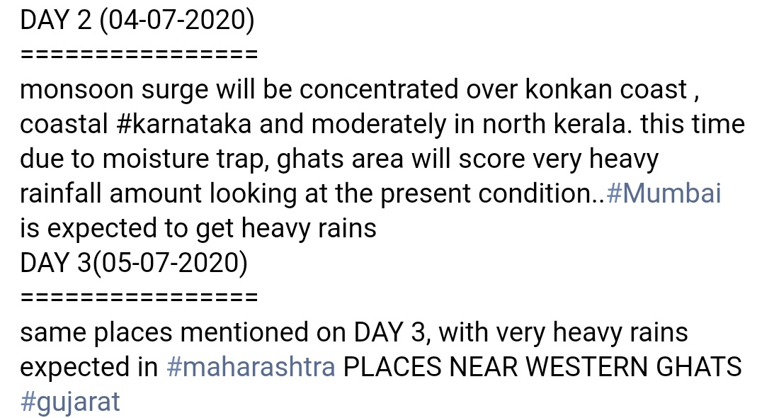 With my post back three days mentioned about #maharashtra #gujaratrains in DAY 3, which happening now. Extremely heavy rains fall over #gujarat and with monsoon surge still strong, more show on cards  #BeSafe #mumbairains  Who didn't read my post pls read  https://t.co/GQz54Q1I6y https://t.co/CL7aKHI5Ra