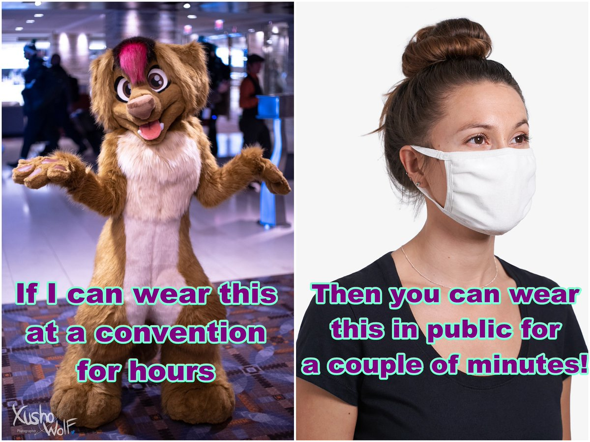 I was inspired to do this as well!  WEAR A MASK!!  Also, no, fursuiting doesn't count as protection. DO NOT GO TO CONVENTIONS OR FURMEETS DURING A PANDEMIC! Be smart, be safe, stay home! <3  Credit:  https:// twitter.com/_Neffertity_/s tatus/1279837889422123010?s=20   … <br>http://pic.twitter.com/51oFyB4Rf9