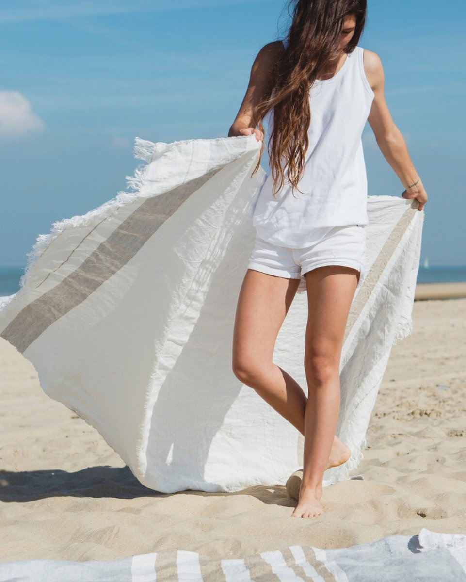 Oyster Stripe & Ash Stripe #THROW #ECOISTWORLD 100% Belgian linen towels -  You can use them as a drying bath sheet after a shower, stylish wrap around sarong, decorative throw on a sofa or bed, a zen quality meditation blanket as well as a light tow to take to the beach.  #plast https://t.co/W0jXx6BgdK