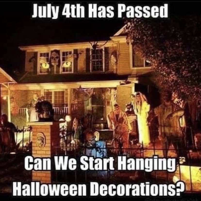 We don't need approval. If @HobbyLobby can put up #Christmas decorations in July then we can put #Halloween decorations! 🎃