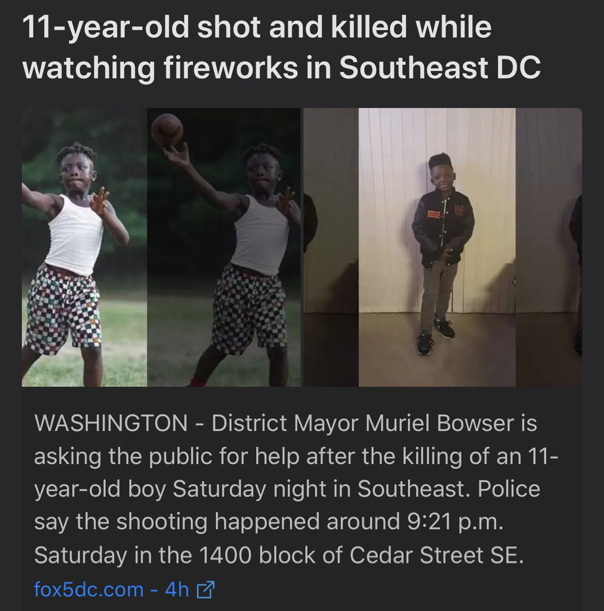 """11 year old Davon McNeal was shot and killed while watching fireworks last night in DC. A victims grandfather lives every 4th of July in fear, because """"he doesn't know whether to celebrate or duck gunfire"""". Text COMMUNITY TO 79606 to help #endgunviolence https://t.co/gHuAnCbDjn"""