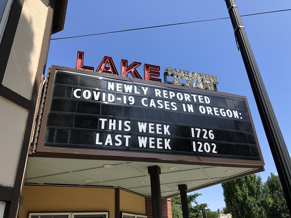 Now my neighborhood theater is putting COVID stats on its marquee: https://t.co/IQ6lMPrXDs