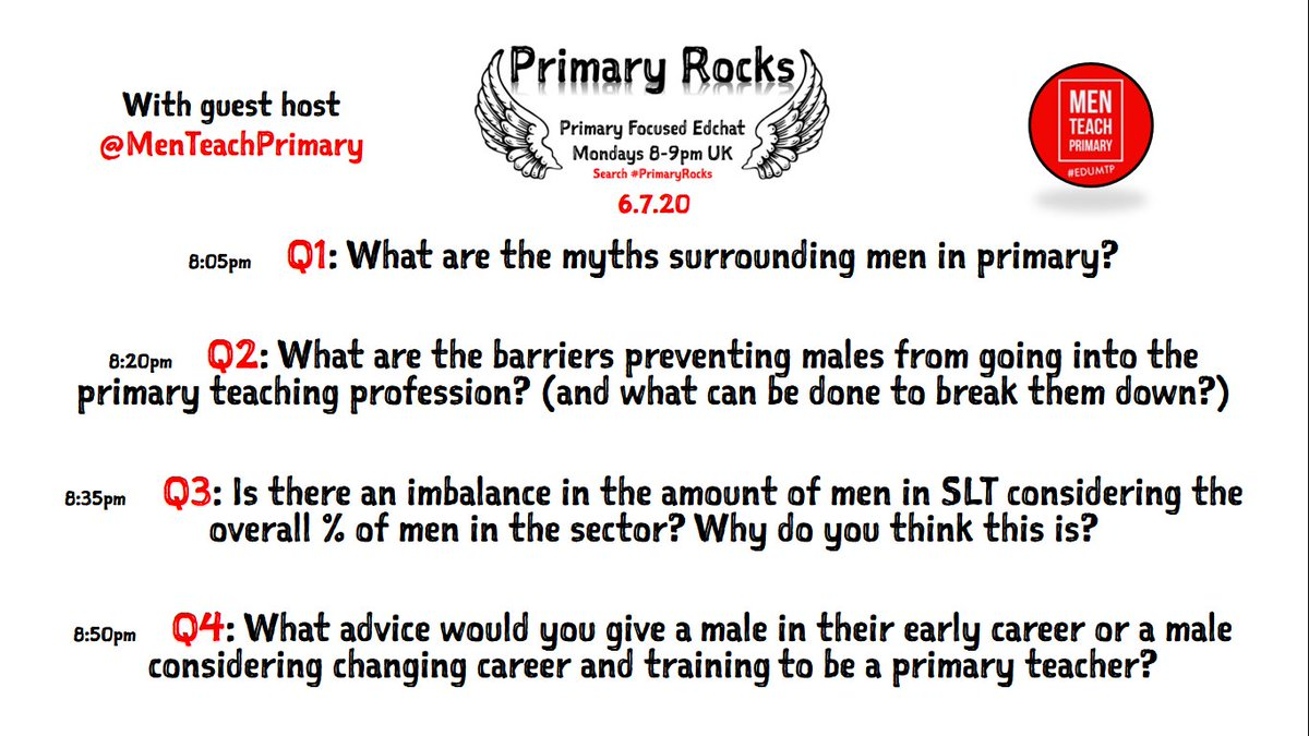 5 minutes until #PrimaryRocks. Here are tonights questions from @MenTeachPrimary