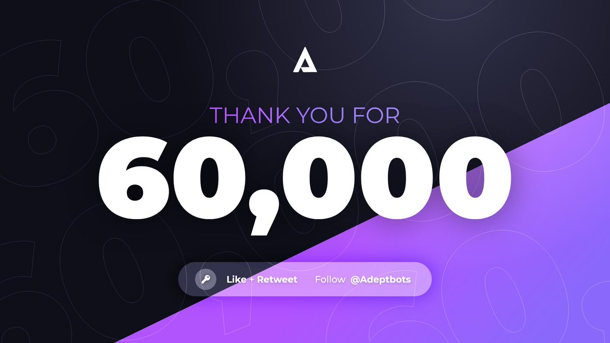 Thanks for 60,000 followers!  We can't wait to show everyone what we have been working on for nearly 3 years 🚀  Here's a chance to win an Lifetime key!   To enter: - Like + Retweet - Follow @Adeptbots  Good luck! 💜 https://t.co/ctaeloFvfy