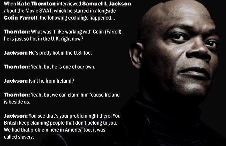 RT @NiallACFitz: @MuireannO_C @BuzzFeed Sam Jackson has already warned them off Colin Farrell! 🙂 https://t.co/H0B3qfMnDh