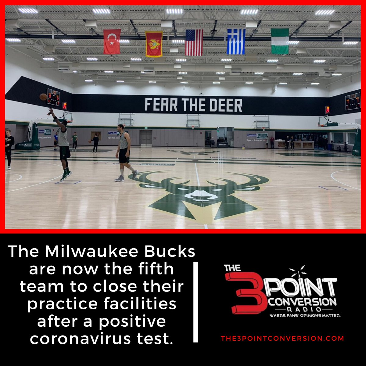 The Milwaukee Bucks are now the fifth team to close their practice facilities after a positive coronavirus test.  #NBA   #FearTheDeer   #3ptcnvrsn https://t.co/KuW1m9EhXa