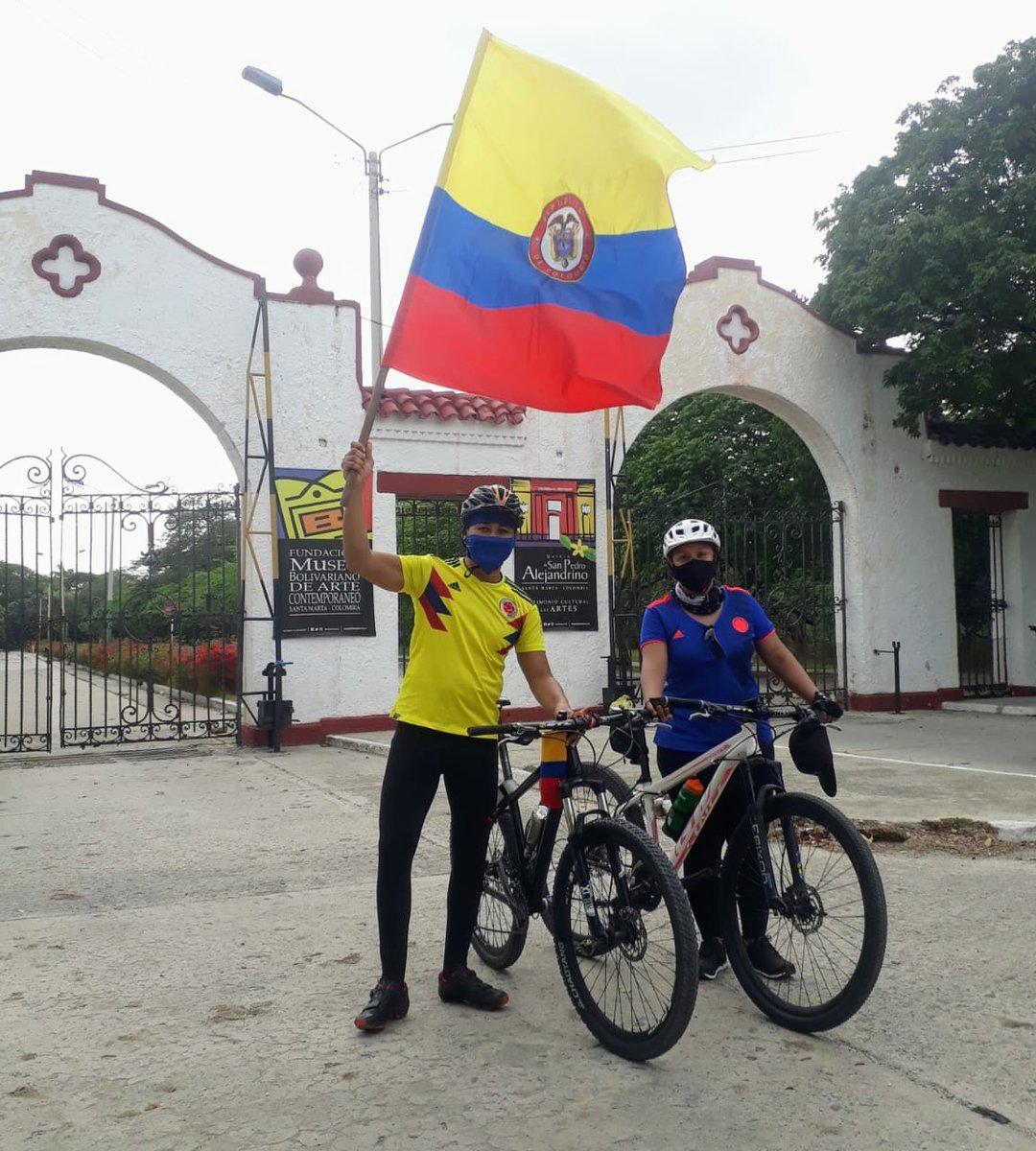 Son pequeñas cosas las que representan que nos sentimos orgullosos de ser Colombianos, la camiseta, la bandera, la bicicleta  y un lugar lleno de historia, la Quinta de San Pedro Alejandrino. #Biciturismo #SantaMarta #VamosColombia♥️ https://t.co/it9xo1B92F