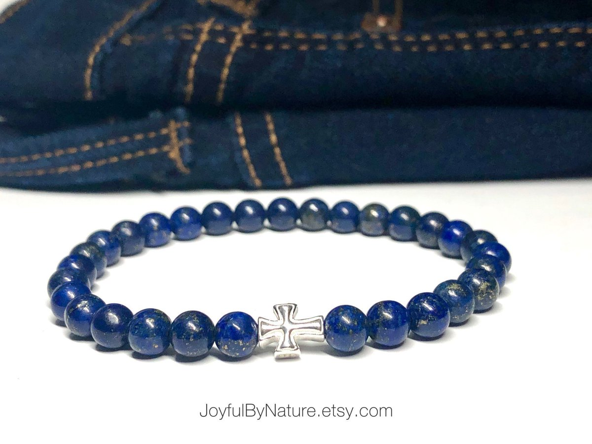 Catch the sale • Our wear-with-everything sterling silver Roman cross bracelet. Several stone choices—lapis lazuli, amethyst, onyx, and more. HANDMADE and custom-sized. https://buff.ly/35gG956 #bracelets #menswear  #womenstyle #Christianpic.twitter.com/T99UaZmAuZ