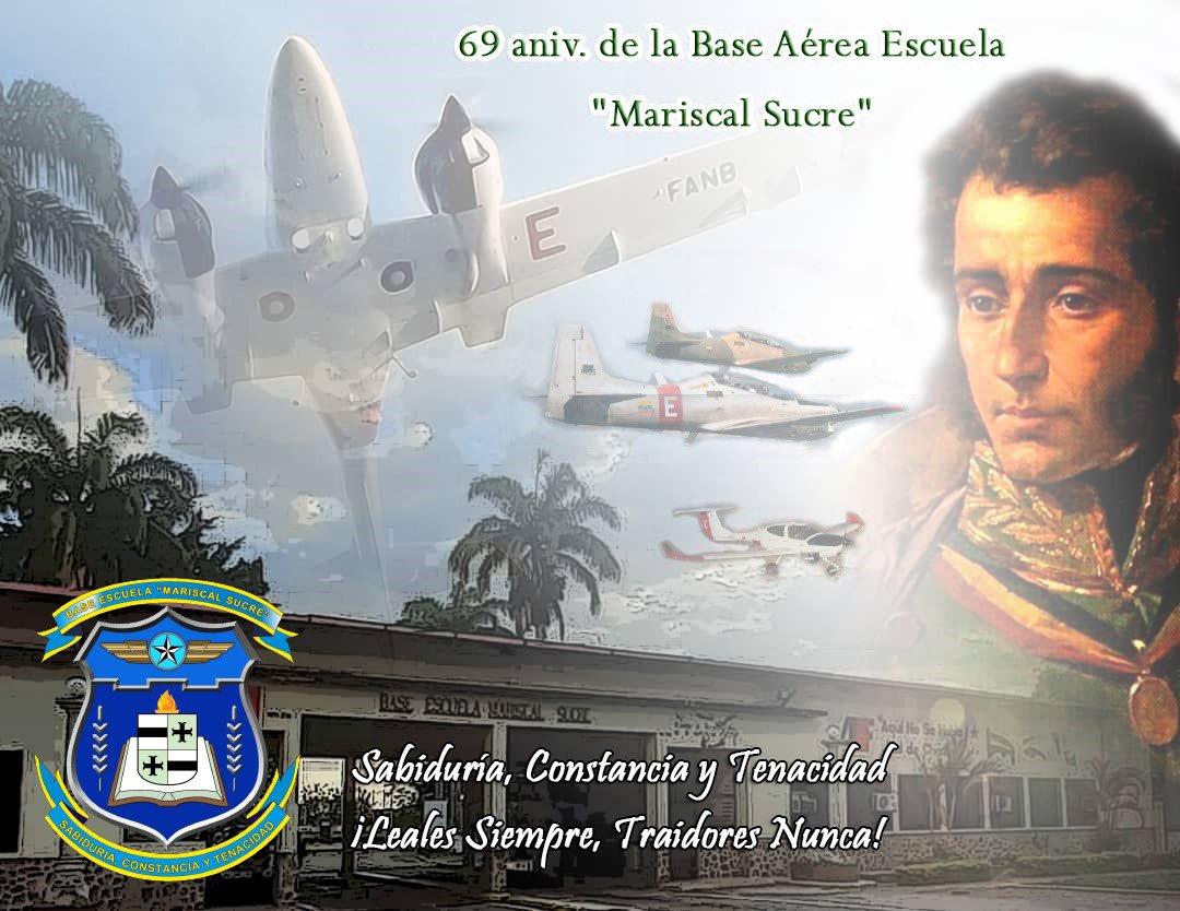"""#05Jul también celebramos el 69 aniversario de la """"Base Aérea Escuela Mariscal Sucre"""" donde se forman los pilot@s y tecnic@s que defienden el cielo patrio. Felicito a su comandante, GB. Lenín Ramírez, tremendo piloto cazador y excelente soldado del aire.¡INDEPENDENCIA O NADA! https://t.co/qxfLhka0N9"""