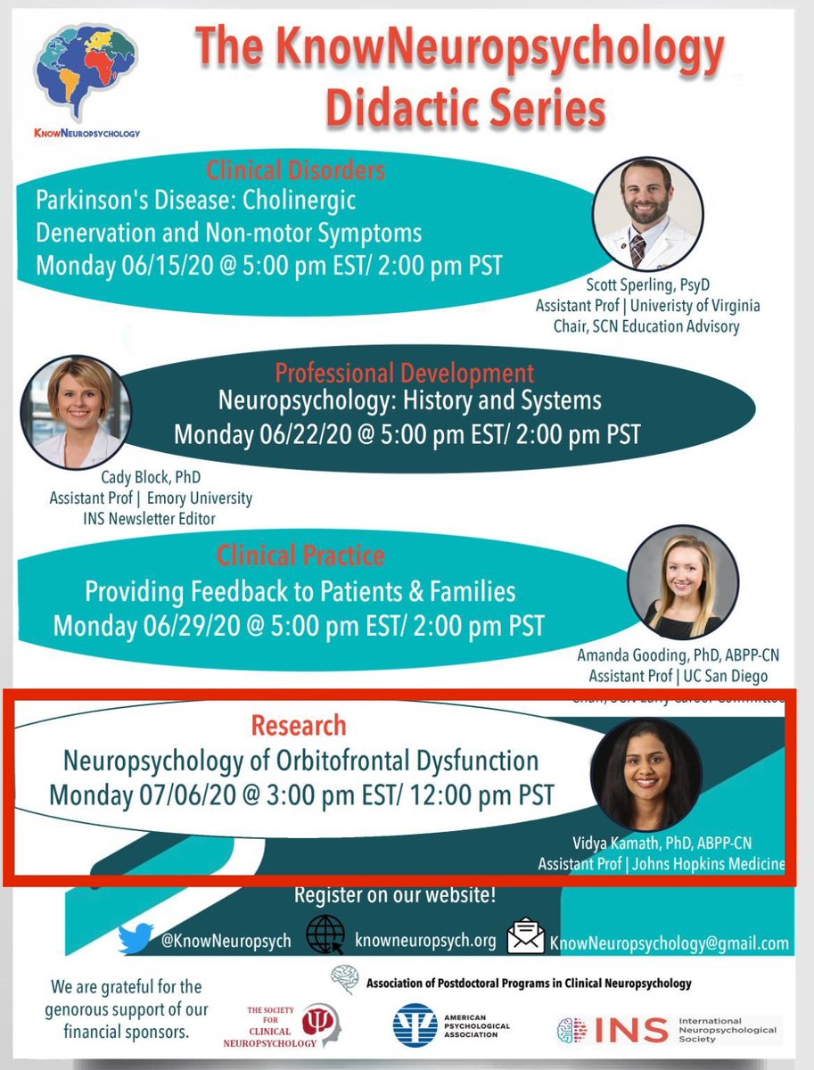 Ohh do we have something special coming your way tomorrow. Do not miss Dr. Vidya Kamath at @HopkinsMedicine lecture on the #neuropsychology of orbitofrontal dysfunction at 3pm EST/12pm PST! See flyer for details: https://t.co/bExubT6FoY