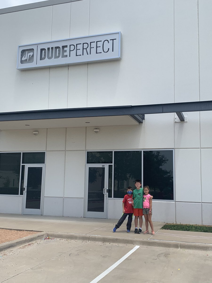 @DudePerfect 3 of your biggest fans (who are moving to Frisco with mom and dad, I'm Dad and I love Wheel Unfortunate) got to see DPHQ2 today! https://t.co/z5sl89s6Pg