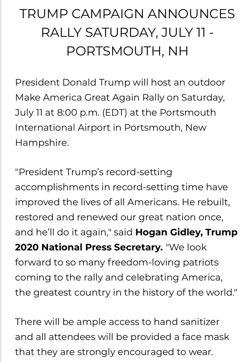 """.@TeamTrump announces another rally next Saturday - announcement says attendees """"strongly encouraged"""" to wear face masks https://t.co/4aBZrkBbeX"""