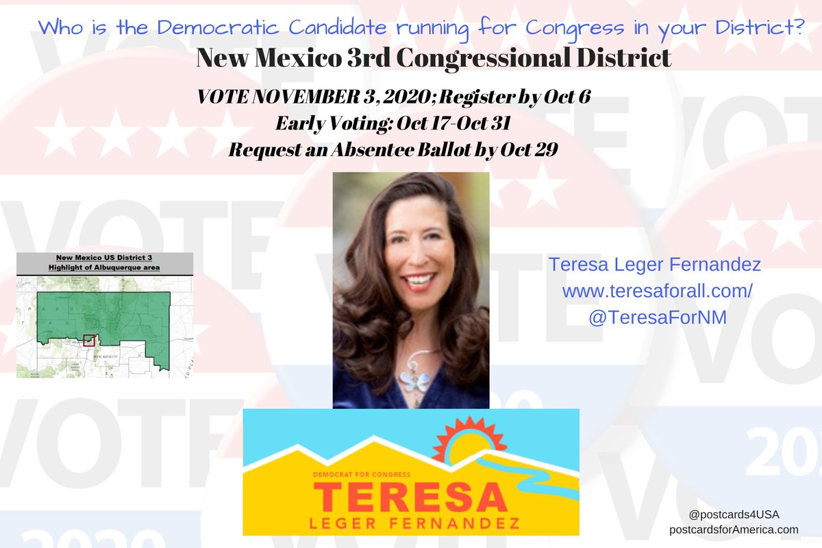 NM3 Democratic Candidate for #NM03 NEW MEXICO 3rd Congressional District Teresa Leger Fernandez Attorney & Ex-Clinton White House Fellow Website https://t.co/L8iLpm3TcZ Donate here https://t.co/Cb6msy9aNK Follow @TeresaForNM  #NoSafeSeats #Congress2020 THREAD https://t.co/YOiHJVw4Qs