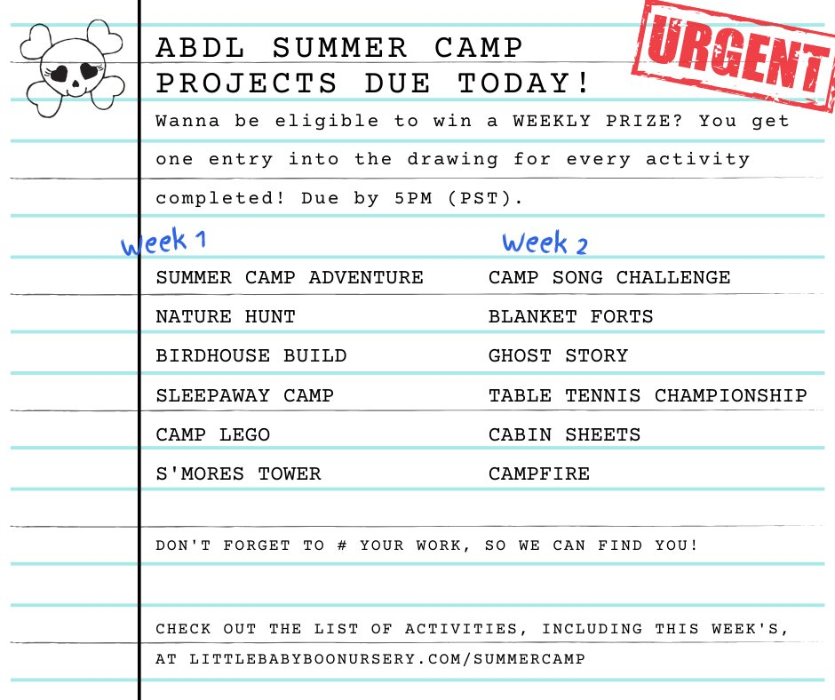 #ABDLSummerCamp projects are due today by 5pm (PST) to be eligible to win a prize! #abdl #littlespace #abdlcommunity #ageplay #adultbaby #agere #diaperlover #cglcommunity #ageregressor #caregiverlittle #littlespacecommunity #littlelifestyle  #littlescrafts #abdlmommy #abdlnursery https://t.co/CgRTjZuHNE