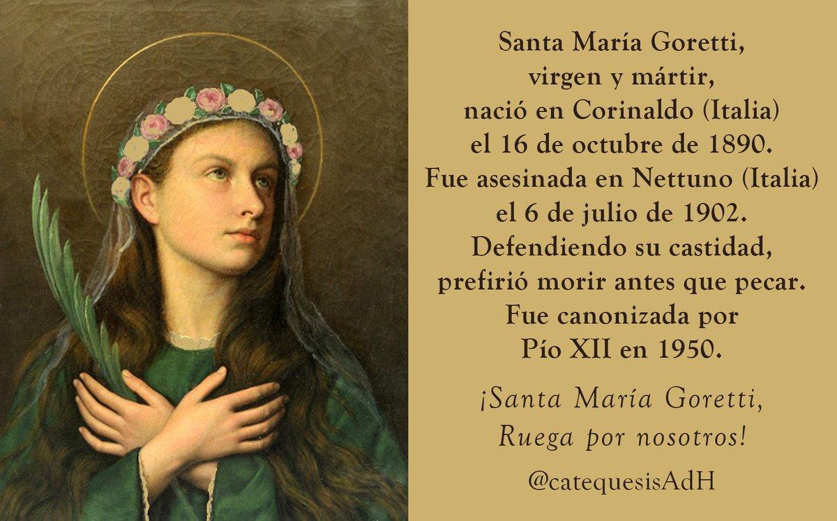 #SantoDelDía #SantaMaríaGoretti #VirgenYMártir #PurezaYCastidad #RuegaPorNosotros https://t.co/BF9aBxdLXa