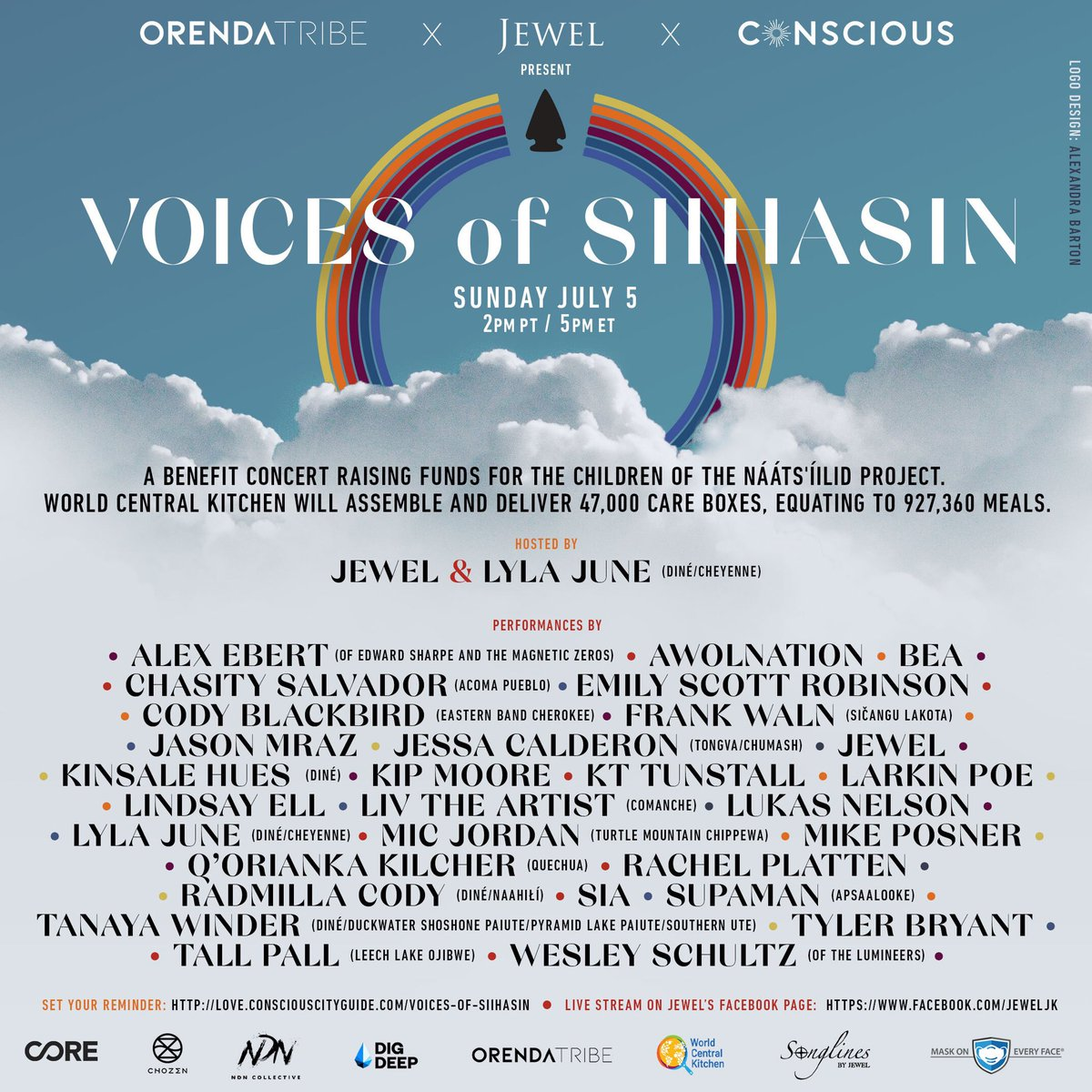 Beginning in under an hour— #VoicesofSiihasin is a benefit concert for WCK to provide meals to Diné children this summer. Tune in to see @jeweljk, Lyla June, @Sia, @jason_mraz & more. With funds raised, WCK plans to distribute at least 47,000 food boxes! https://t.co/s6SjPhSdKJ https://t.co/7N7ml5vzpv