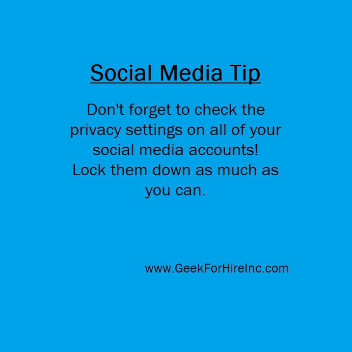 Don't forget to check the privacy settings on all of your social media accounts! Lock them down as much as you can. #SocialMediaTips #SocialSaturday #TechTips #MacRepair #PCRepair #Niwot #FrontRangepic.twitter.com/T6YztPX22x
