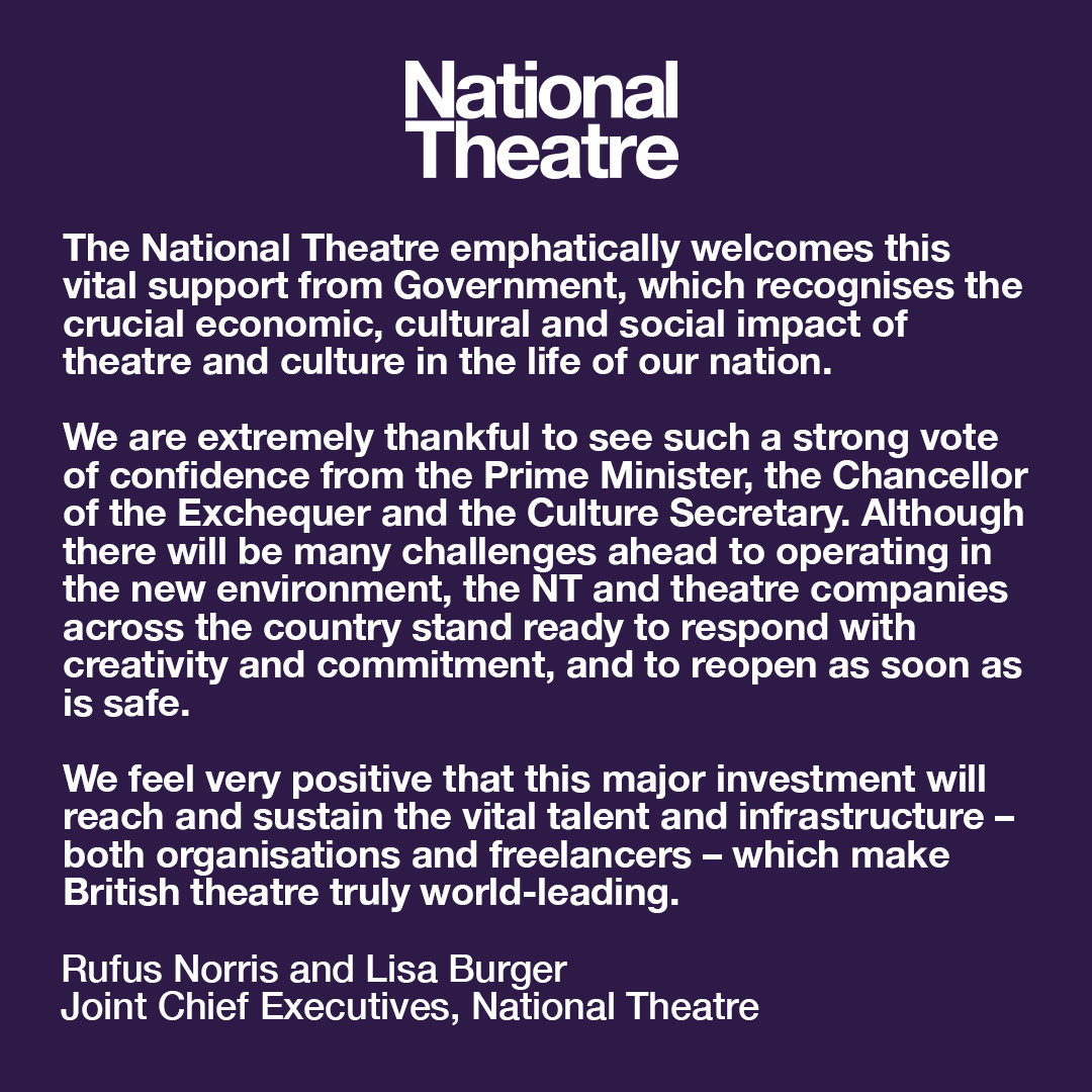 We're so pleased that the Government has announced vital support for the culture sector.