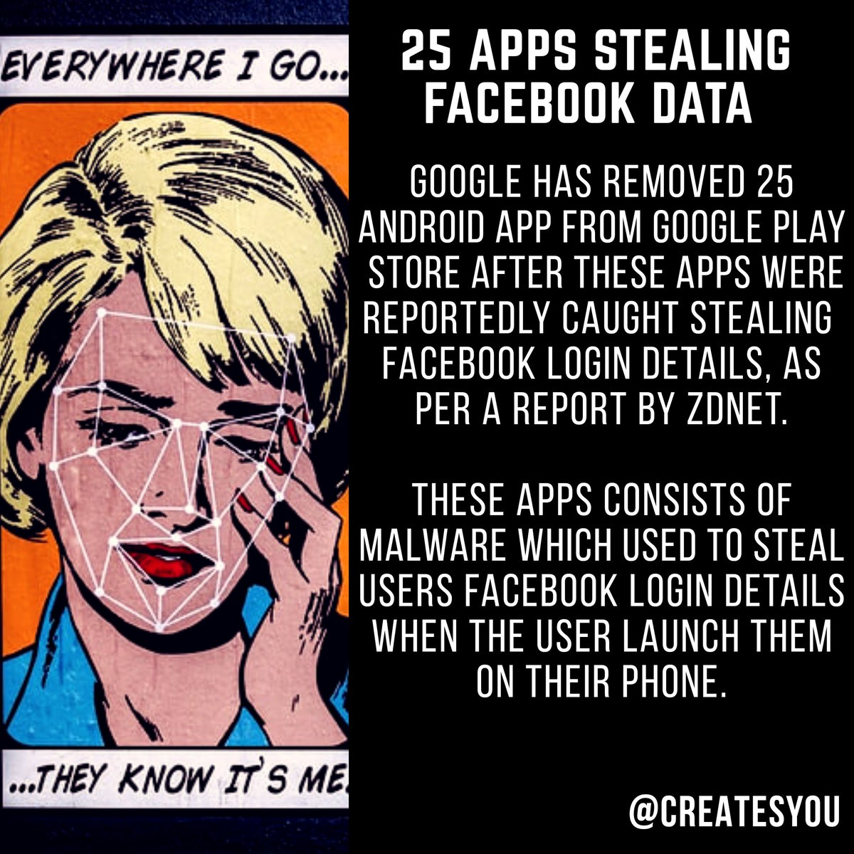 #Google Removed 25 apps from playstore that were stealing your #facebook data. #facebooknews #GooglePlayStore #SocialMediaDay https://t.co/ZJGlDvms0y