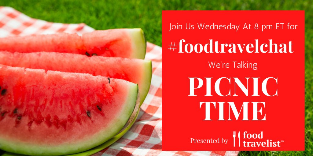 RT @FoodTravelChat: Join us Wednesday at 8 pm ET for #FoodTravelChat. We're talking Picnic Time! https://t.co/hcjzZisoas
