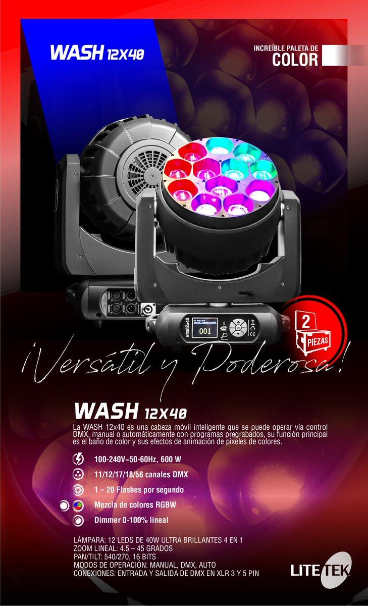¡Descubre la Wash 12X40 con increíbles efectos que llenan de color cualquier espacio! Cuenta con 12 poderosos LEDS de 40 Watts que logran combinaciones en RGB+W.  ¡Ya a la venta con nuestros distribuidores autorizados! https://t.co/zxodfrPh2h